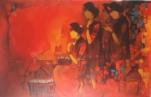 Figurative Acrylic Art Painting title 'Flower Women' by artist Sachin Sagare