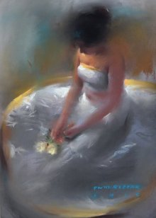 Pramod Kurlekar | Oil-pastel Painting title Girl in White on Paper | Artist Pramod Kurlekar Gallery | ArtZolo.com