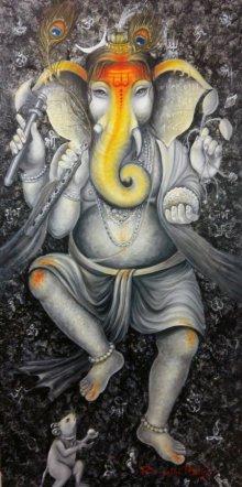 Morpankh Ganesha | Painting by artist Rakhi Baid | acrylic | Canvas