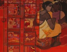 Figurative Acrylic Art Painting title 'Toy Seller Red' by artist Siddharth Shingade