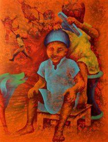 Figurative Acrylic Art Painting title 'Athkheliyan 91' by artist Lakhan Singh Jat