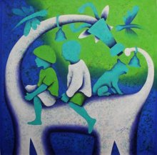 Figurative Acrylic Art Painting title 'Athkheliyan 99' by artist Lakhan Singh Jat