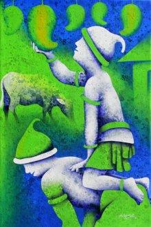 Figurative Acrylic Art Painting title 'Athkheliyan 89' by artist Lakhan Singh Jat