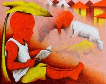 Figurative Acrylic Art Painting title 'Athkheliyan 96' by artist Lakhan Singh Jat