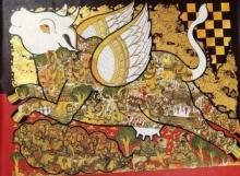 Ramesh Gorjala | Acrylic Painting title Kamadhenu on canvas | Artist Ramesh Gorjala Gallery | ArtZolo.com