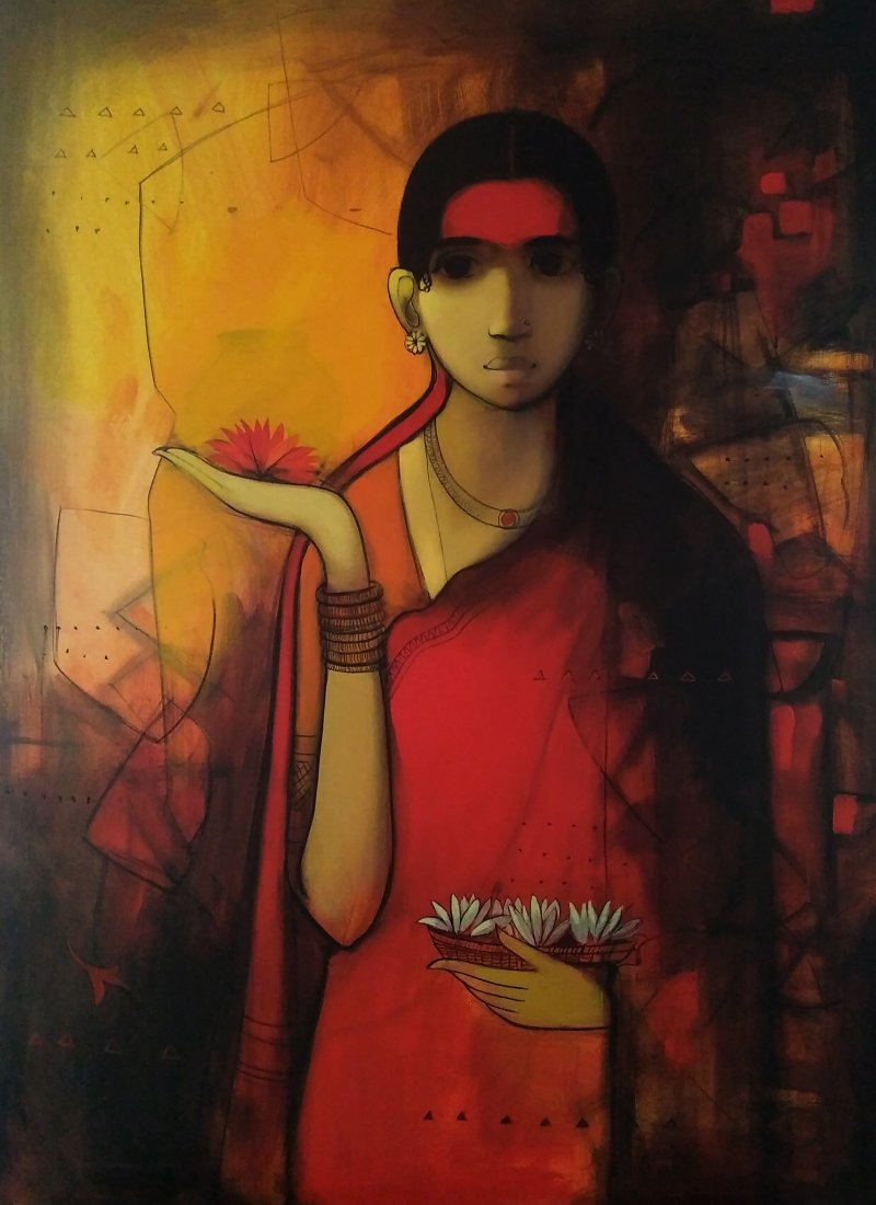 Indian Woman Painting By Sachin Sagare Artzolo Com