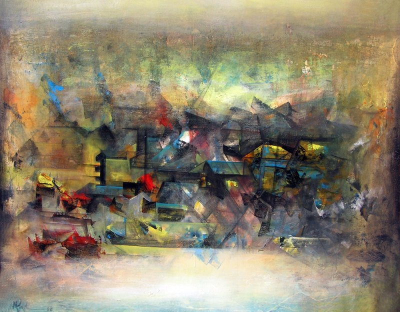 abstract city by artist m singh abstract art acrylic paintings