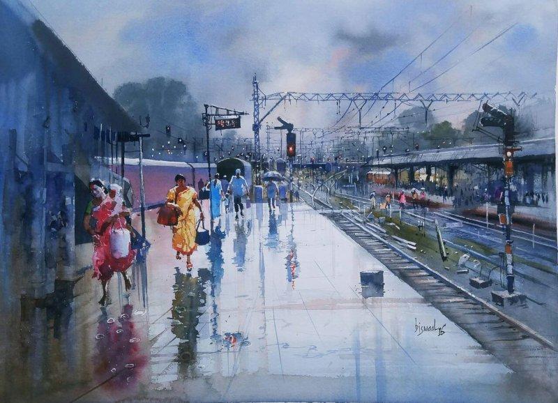 Wet Platform Nagpur By Artist Bijay Biswaal Watercolor