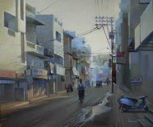 Cityscape Oil Art Painting title Mahal Morning by artist Bijay Biswaal