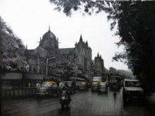 Cityscape Charcoal Art Drawing title 'Mumbai VT' by artist Yuvraj Patil