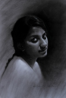 Portrait Charcoal Art Drawing title 'Neha' by artist Kulwinder Singh