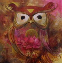 Animals Acrylic Art Painting title 'Owl 2' by artist Rajeshwar Nyalapalli