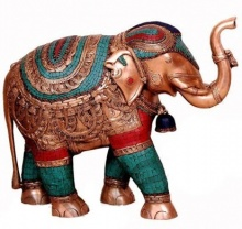 VS Craft | Brass Elephant With Trunk Up Craft Craft by artist VS Craft | Indian Handicraft | ArtZolo.com