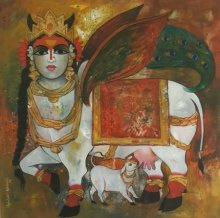 Animals Acrylic Art Painting title 'Surabhi' by artist Rajeshwar Nyalapalli