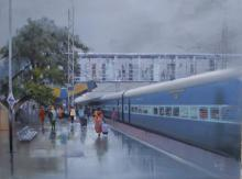 Bijay Biswaal | Acrylic Painting title Rajnandgaon Wet Platform II on Canvas
