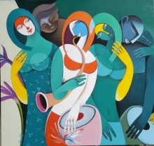 Figurative Acrylic Art Painting title 'Rhythm Melodies III' by artist Pradip Sarkar