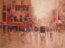 Purnendu Mandal | Acrylic Painting title Rickshaw Puller In Kolkata I on Canvas | Artist Purnendu Mandal Gallery | ArtZolo.com