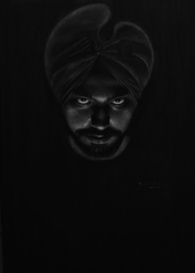 Portrait Charcoal Art Drawing title 'Self Portrait' by artist Kulwinder Singh