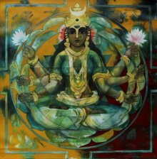 Rajeshwar Nyalapalli Paintings | Acrylic Painting - Shakthi 5 by artist Rajeshwar Nyalapalli | ArtZolo.com