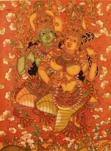Religious Acrylic Art Painting title 'Radha Krishna' by artist Manikandan Punnakkal