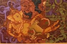 Religious Acrylic Art Painting title 'Ganesha 3' by artist Manikandan Punnakkal