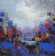 Cityscape Acrylic Art Painting title 'Strom In City' by artist Purnendu Mandal