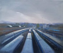 Cityscape Acrylic Art Painting title 'Train Trail' by artist Bijay Biswaal