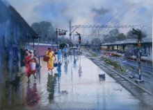 Cityscape Watercolor Art Painting title 'Wet Platform Nagpur' by artist Bijay Biswaal