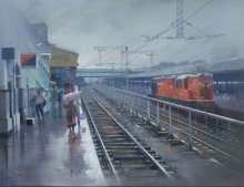 Wet Platform Nagpur | Painting by artist Bijay Biswaal | acrylic | Canvas