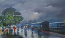 Bijay Biswaal | Acrylic Painting title Wide Wet Platform II on Canvas