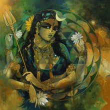 Figurative Acrylic Art Painting title 'Woman With Sri Chekra' by artist Rajeshwar Nyalapalli