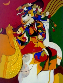 Animals Acrylic Art Painting title 'Ganesha 2' by artist Avinash Deshmukh