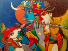 Figurative Acrylic Art Painting title 'King And Queen 13' by artist Avinash Deshmukh