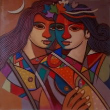Figurative Acrylic Art Painting title 'King And Queen 7' by artist Avinash Deshmukh