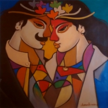 Figurative Acrylic Art Painting title 'King And Queen 8' by artist Avinash Deshmukh