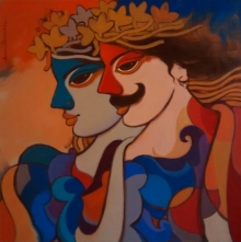 Figurative Acrylic Art Painting title 'King And Queen 9' by artist Avinash Deshmukh