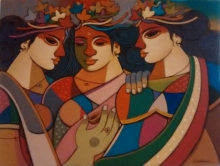 Figurative Acrylic Art Painting title 'King Queen 4' by artist Avinash Deshmukh