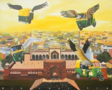 Fantasy Acrylic Art Painting title Future Delhi by artist Bipul Roy