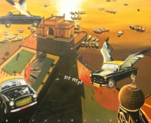 Fantasy Acrylic Art Painting title 'Future Mumbai' by artist Bipul Roy