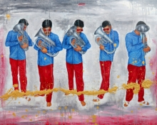 contemporary Oil Art Painting title Musician by artist Anil Kumar Bodwal