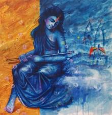 Religious Oil Art Painting title 'Banaras Beauty 2' by artist Pradeep Kumar