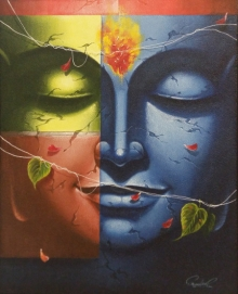Religious Oil Art Painting title 'Buddha' by artist Pradeep Kumar