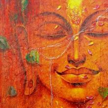 Religious Acrylic Art Painting title 'Buddha 2' by artist Pradeep Kumar