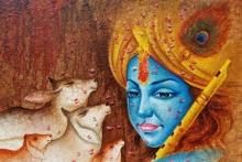 Religious Acrylic Art Painting title 'Krishna' by artist Pradeep Kumar