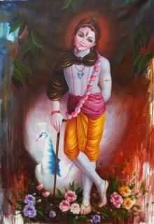 Religious Oil Art Painting title 'Krishna 2' by artist Pradeep Kumar