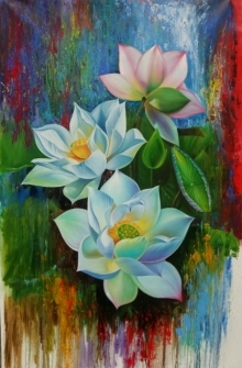 Nature Acrylic Art Painting title 'Lotus' by artist Pradeep Kumar