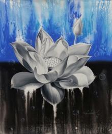 Nature Acrylic-oil Art Painting title 'Lotus 5' by artist Pradeep Kumar