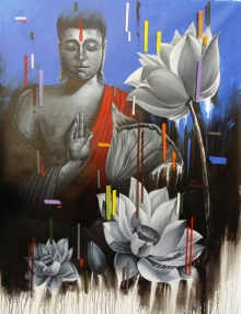Religious Acrylic-oil Art Painting title 'Meditation' by artist Pradeep Kumar