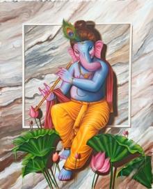 Religious Oil Art Painting title 'Murli Wala Ganesha' by artist Pradeep Kumar