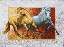 Animals Oil Art Painting title The Royal Horse by artist Pradeep Kumar